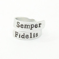 Semper Fidelis ring Semper Fi ring - Semper Fi jewelry - USMC ring - Stamped metal ring - Gift for marine - Gift for him gift for her