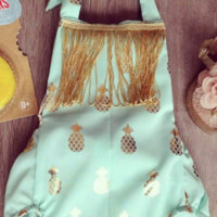 Baby & Toddler Mint with Gold Pineapple Romper