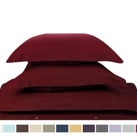 Duvet Cover for a Duvet Insert Comforter, Full Double Size, Burgundy Red Solid Color, 100% Double Brushed Microfiber Fabric 1800 Series Luxury Bedding Collection, Hypoallergenic, Most Cozy Comfortable Bedroom Set on Amazon, Basic 3-Piece Set Includes Silky