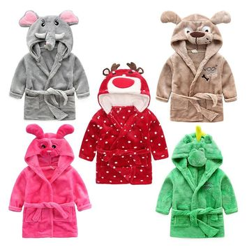 Cartoon Kids Robes Flannel Child Boys Girls Robes Unicorn  Hooded Towel Beach Kids Sleepwear Bathrobe Children Clothes Pajamas