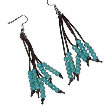 Turquoise Howlite Beaded Boho Genuine Leather & Stainless Steel Artisan CraftedDangle Earrings