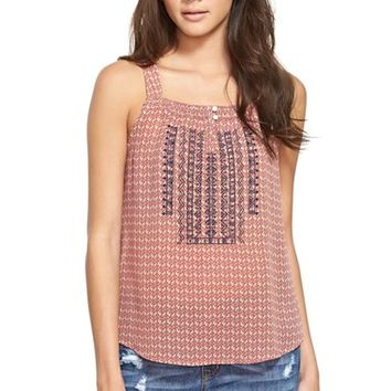 Junior Women's Blu Pepper Embroidered Print Tank,