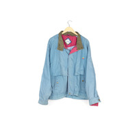 RARE APPLE 80s-90s rainbow logo jacket / vintage 1990s 1980s sky blue barn coat / macintosh / steve jobs / minimal / vaporwave / l - xl