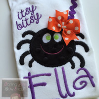 Halloween Shirt -- Baby Girl Halloween Shirt -- Itsy Bitsy Spider -- personalized with her name