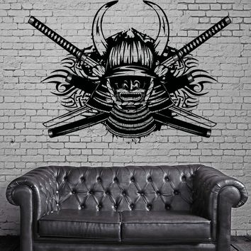 Decal Vinyl Wall Stickers Samurai Swords Helmet With Hornes Katana  (z2151)