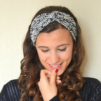 Aztec tribal patterned stretchy cotton jersey twisted headband yoga headband ear warmer birthday gifts hair accessories