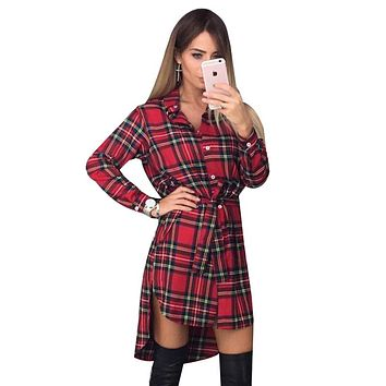 NEW Women Dress Sexy Long Sleeve Office Dress Irregular Plaid Shirt Dresses