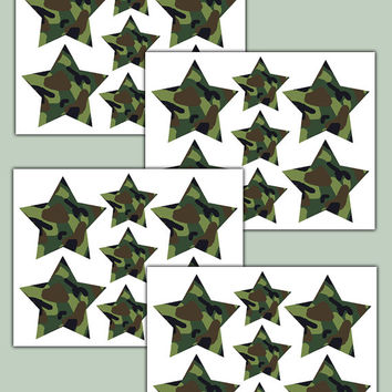 GREEN CAMO STARS Wall Decals Teen Boys Hunting Room Decor Baby Nursery Childrens Bedroom Kids Camouflage Geometric Art Stickers Decor