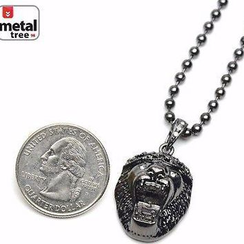 """Jewelry Kay style Men's Fashion Iced Out Lion Head Pendant 20"""" Ball Chain Necklace Set MMP 811 BK"""