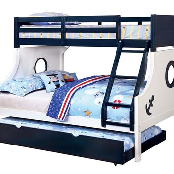 Nautia collection nautical themed porthole design Blue and white finish wood Twin over Full Bunk bed with twin size slide out trundle