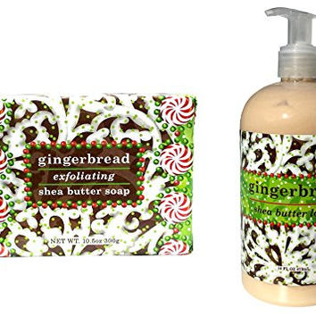 Greenwich Bay Bundle of Hand and Body Lotion 16 Oz. with Bath Bar Soap 10.5 Oz. Holidays|Christmas|Thanksgiving Gift Set Duo (Gingerbread)