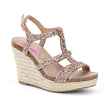 Betsey Johnson Skylir Espadrille Wedges - Gold