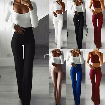 Womens Solid High Waist Flare Wide Leg Lady Trousers Bell Bottom Yoga Pants