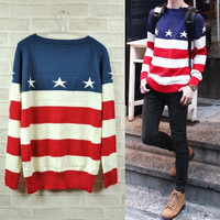 New Fashion Men Women USA American Flag Knit Jumper Sweater Outerwear Pullover = 1930318788