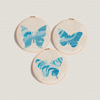 Watercolour Butterfly cross stitch pattern Modern cross stitch marble blue color insect Counted cross stitch easy Baby cross stitch DIY