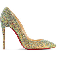 Christian Louboutin - Pigalle Follies Dragonfly 100 glittered leather pumps