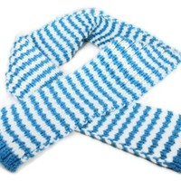 Knitted Blue and White Super Bulky Scarf