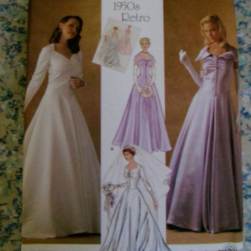 UnCut 1950's Retro Style Wedding Dress Sewing Pattern, 4259! 2 Size Choice 6-8-10-12-14 or 14-16-18-20-22, Formal Evening Gowns, Bridesmaids