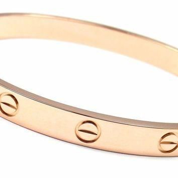 Authentic! CARTIER 18k Rose Gold Love Bangle Bracelet Size 17 New System Cert