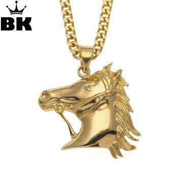 New arrival Vintage Bronco Horse Head Rodeo Pendant Necklace Stainless Steel Southwestern Cowboy Jewelry Men Gift