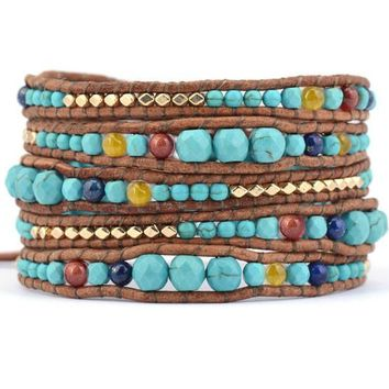 Leather Wrap Bracelet With Graduated Stones - Turquoise