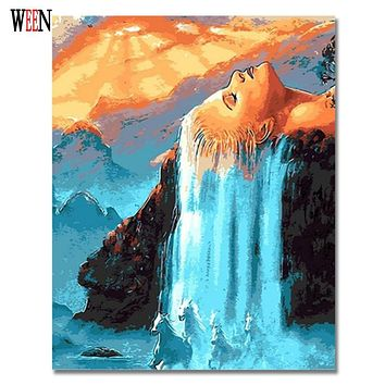 Hair Waterfall Picture By Numbers On Wall Acrylic Amazing Canvas Painting Drawing DIY Coloring By Numbers For Living Room Gift