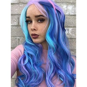 Bule Purple Pink Mixed Colorful Wave Long Synthetic Lace Front Wig