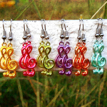 Violet Music Note Earrings - Bohemian Handmade Treble Clef Jewelry - 6 Colors To Choose From!!!