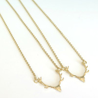 Deer Antler Necklace / Gold Antler Necklace / Woodland Jewelry - Cabin Fever Collection