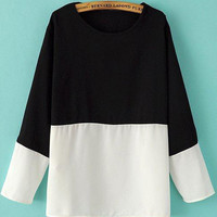 Black and White Color Block Long Sleeve Blouse