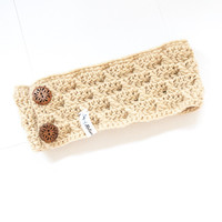 ♢ The Beige Headband With Cross Details♢ ★ A handmade Beige Headband or Ear Warmer. - Joy of Motion