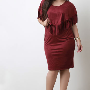 Suede Fringe Cape Dress