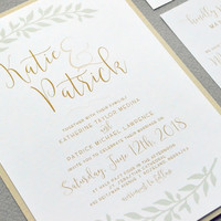 Calligraphy Wedding Invitation Suite, Rustic Wedding Pocket Invites, Laurel Wedding Invitations, Gold and Mint Wedding Invite Set Garden
