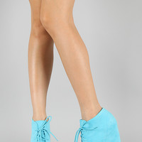 Suede Lace Up Wedge Bootie