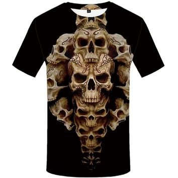 Men Casual Skull Print Vintage Short Sleeve Top