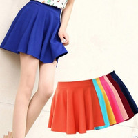 2014 New Fashion Women Candy Color Stretch Waist Plain Skater Flared Pleated Mini Skirts = 1946173316