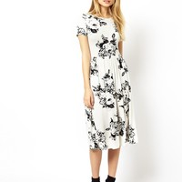 ASOS Midi Skater Dress In Mono Floral