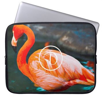 Pink flamingo photo custom monogram laptop sleeve