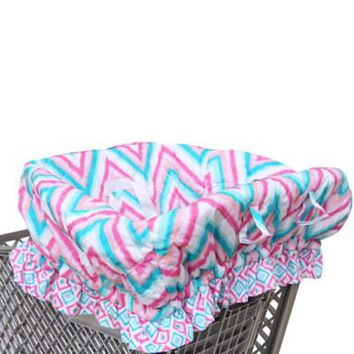 Caden Lane® Ikat Shopping Cart Cover In Chevron Pink