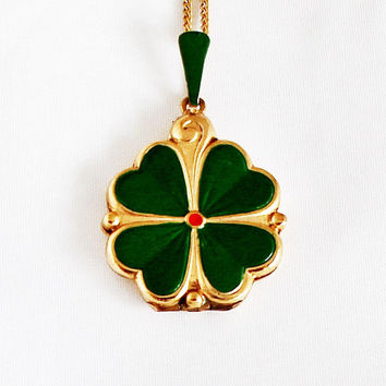 1940s Art Nouveau German Shamrock Locket / Vintage Shamrock Medallion Portrait Photo