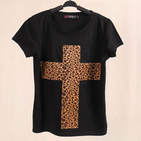 SIMPLE - Leopard Cross Print Women Round Neck Casual Sweatshirt Shirt Top blouse T-shirt b4212