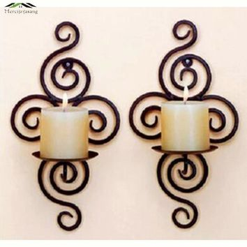 Metal Candlestick Iron Hanging Wall Sconce Candle Holders