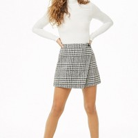 Glen Plaid Tweed Wrap Skirt