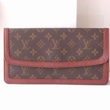 Tagre™ Louis Vuitton Bag Monogram Clutch Brown Authentic Vintage handbag purse 70s