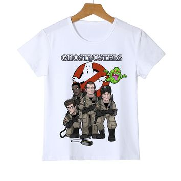 Summer Tee White Old School Logo Ghostbuster Boys/Girl T-shirt Children's printed Novelty t-shirt Brand Kid Casual t shirt Z26-2