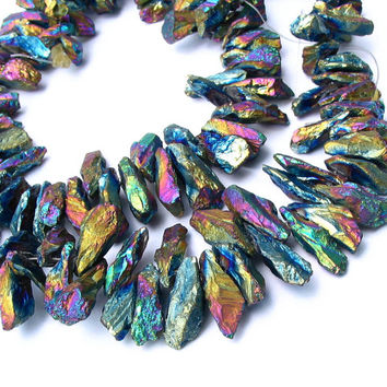 "16"" Rock Crystal GRADUATED Titanium color rainbow plated rough point stick beads gemstone faceted - tusk chip - full strand"