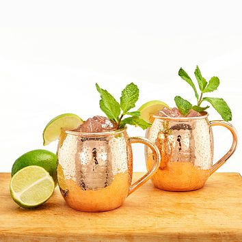 16 Oz. Hammered Solid Copper Moscow Mule Mugs Set of 2 By Old Dutch International
