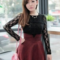 Women Round Neck  Black Lace Long Sleeve One Size Bottoming Top@MF9812b