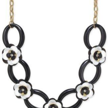 Kate Spade Black Flower and Chain Necklace