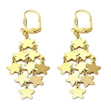 Gold Layered 02.63.2193 Chandelier Earring, Star Design, Polished Finish, Gold Tone
